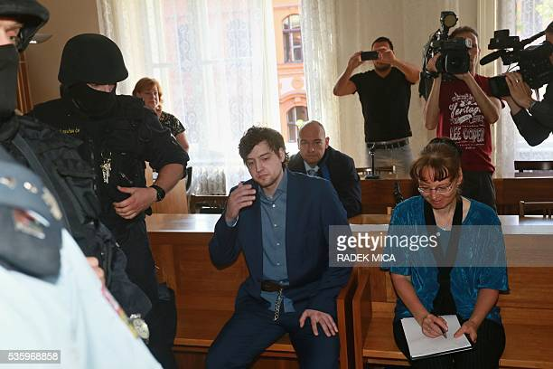 Defendant Kevin Dahlgren charged with quadruple murder waits at the courtroom for his trial on May 31 2016 in Brno Czech Republic The UScitizen is...