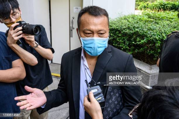 Defendant Tang Ying Bun , one of eight men accused of attacking pro-democracy protesters in Yuen Long in 2019, arrives outside the District Court in...