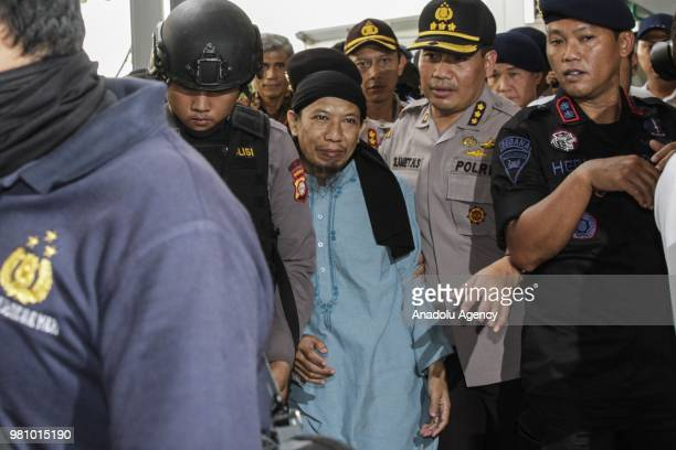 Defendant of terrorism case of Aman Abdurrahman also known as Oman after he has been sentenced to death in South Jakarta District Court Jakarta...
