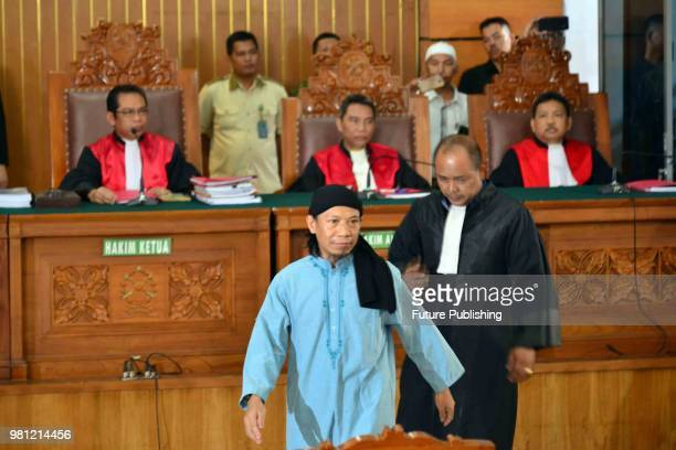 Defendant of terrorism case of Aman Abdurrahman also known as Oman before undergoing hearing of decision on him in South Jakarta District Court...