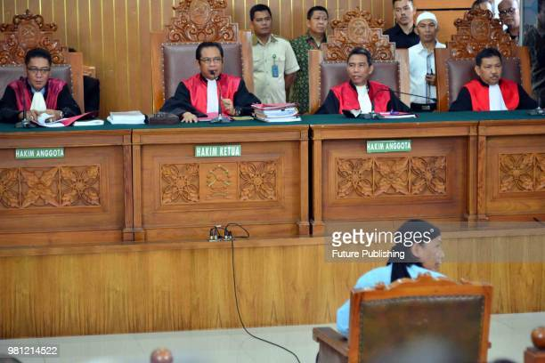 Defendant of terrorism case of Aman Abdurrahman also known as Oman during hearing of decision on him in South Jakarta District Court Jakarta...