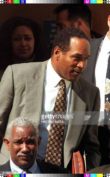 Defendant OJ Simpson leaves superior court in Santa Monica California 28 January after closing arguments in the wrongful death lawsuit filed by the...