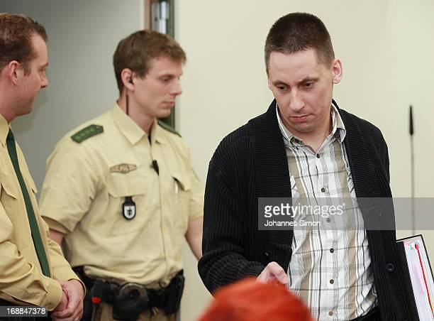 Defendant Ralf Wohllebenarrives in the courtroom on day four of the NSU neoNazis murder trial at the Oberlandgericht Muenchen court on May 16 2013 in...