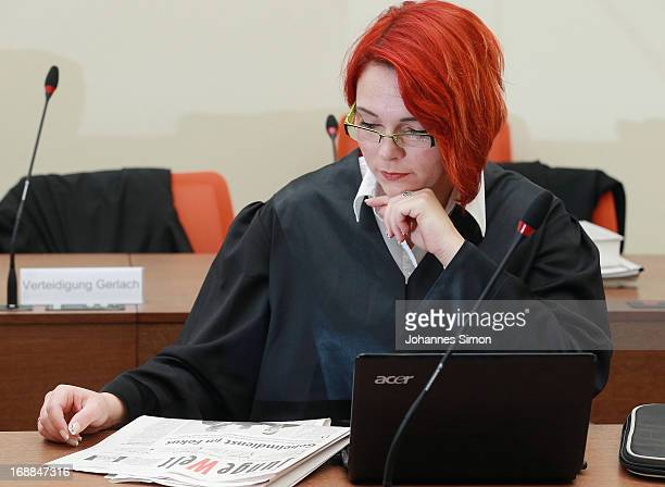 Defendant Ralf Wohlleben's lawyer Nicole Schneiders waits in the courtroom on day four of the NSU neoNazis murder trial at the Oberlandgericht...