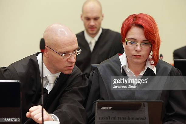 Defendant Ralf Wohlleben's lawyers Olaf Klemke and Nicole Schneiders wait in the courtroom on day four of the NSU neoNazis murder trial at the...