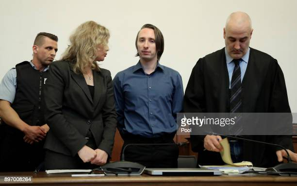 Defendant Sergej W and his lawyer Christos Psaltiras stand at the district court during the trial for the bombing of the Borussia Dortmund bus on...