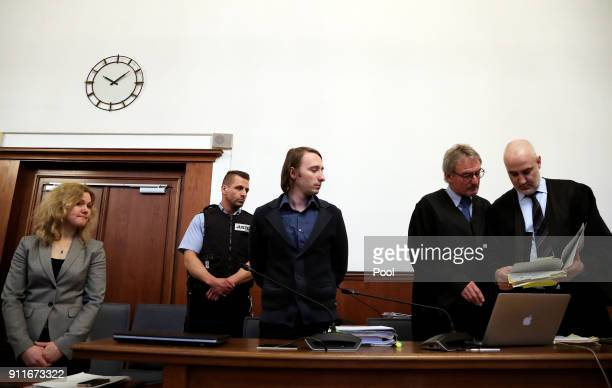 Defendant Sergej W and his lawyers Carl W Heydenreich and Christos Psaltiras stand in the dock of the district court as he arrives for trial on 28...