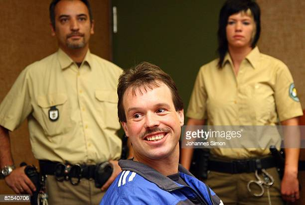 Defendant Sven Kittelmann waits for his trial for armed robbery on August 25 2008 in Munich Germany Kittelmann a former employee of a money transport...