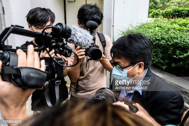 Defendant Wong Chi Wing , one of eight men accused of attacking pro-democracy protesters in Yuen Long in 2019, arrives outside the District Court in...