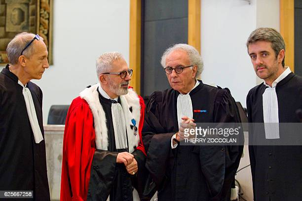 Defendant's French lawyer Mohamed Khanifar public prosecutor Raphael Sanesi defendant's French lawyers GillesJean Portejoie and Renaud Portejoie are...