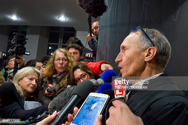 Defendant's French lawyer Mohamed Khanifar speaks to the press after the verdict on the 10th day of the trial of Cecile Bourgeon and her excompanion...