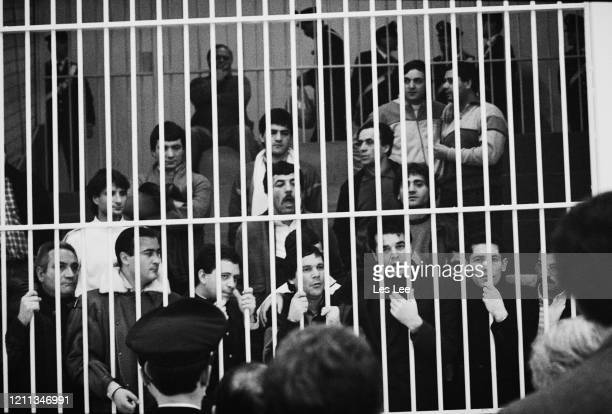 Defendants in Italy's biggest crime trial behind bars as they await trial, Milan, ltaly, 9th February 1985. A series of three trials will see 640...