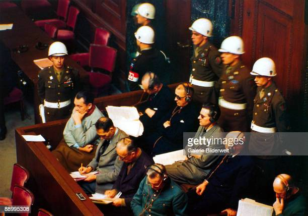 Defendants in the dock in Room 600 at the Palace of Justice during proceedings against leading Nazi figures for war crimes at the International...