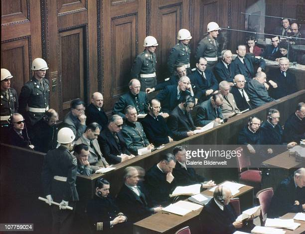 Defendants in the dock on the first day of the trial against leading Nazi figures for war crimes and crimes against humanity at the International...