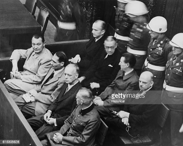 Defendants in their dock at the Nuremberg Trials Goering Hess von Ribbentrop and Keitel in front row