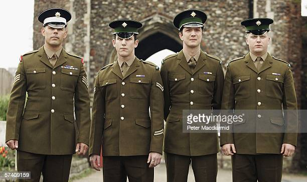 Defendents Colour Sergeant Carle Selman Lance Corporal James Cooke Guardsman Joseph McCleary and Guardsman Martin McGing pose for photographers...