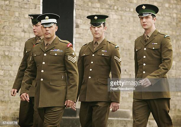 Defendents Guardsman Martin McGing Colour Sergeant Carle Selman Lance Corporal James Cooke and Guardsman Joseph McCleary walk outside the Court...