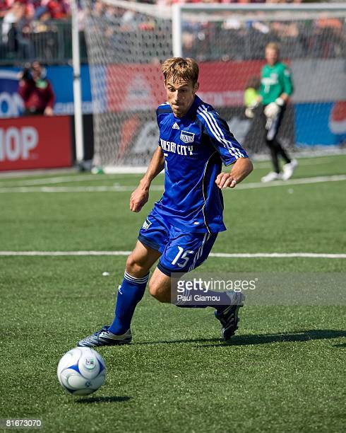 Defender Aaron Hohlbein of the Kansas City Wizards watches the play during the match against Toronto FC on June 21 2008 at BMO Field in Toronto Canada