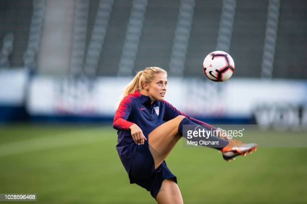Defender Abby Dahlkemper of the US Women's National Team warms up for the US Women's National team practice before their game against Chile at...