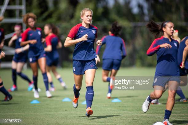 Defender Abby Dahlkemper warms up at the US Women's National Team practice before their friendly match against Chile at StubHub Center on August 28...
