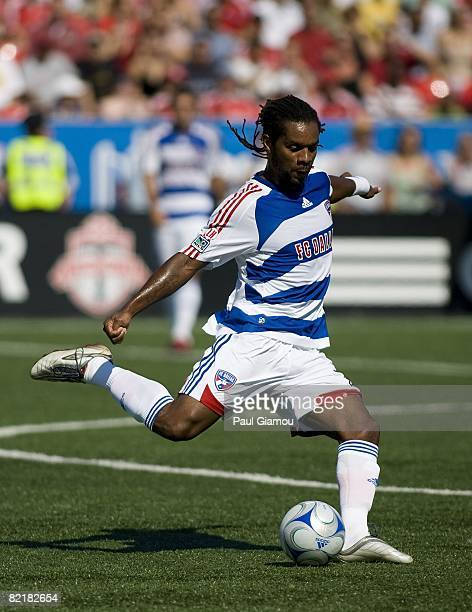 Defender Adrian Serioux of FC Dallas kicks the ball during the match against Toronto FC on August 3 2008 at BMO Field in Toronto Ontario Canada FC...