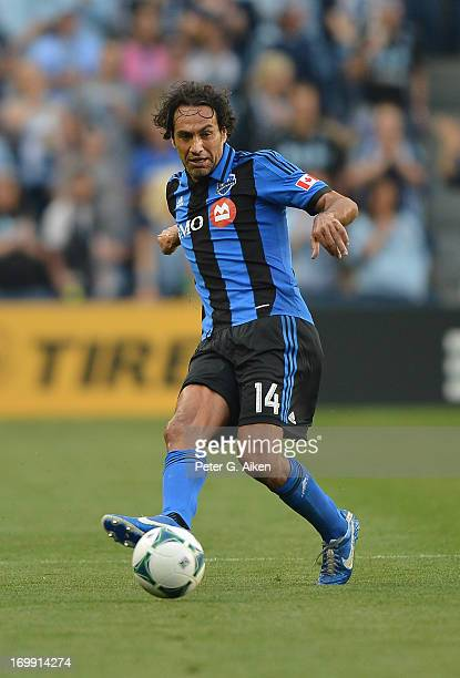 Defender Alessandro Nesta of the Montreal Impact passes the ball against Sporting Kansas City during the first half on June 1 2013 at LiveStrong...