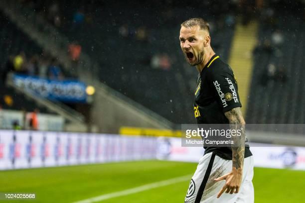 AIK defender Alexander Milosevic reacts after the linesman rules for a goal kick during an Allsvenskan match between AIK and Trelleborgs FF at...