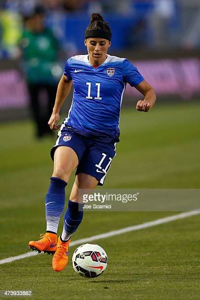 Defender Ali Krieger of USA in action against Mexico during their international friendly match at StubHub Center on May 17 2015 in Los Angeles...
