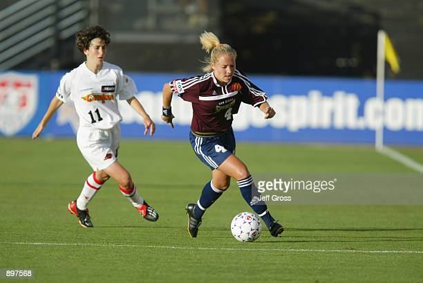 Defender Anna Kraus of the San Diego Spirit dribbles the ball while being pressured by forward Marinette Pichon of the Philadelphia Charge during the...