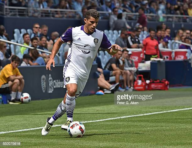 Defender Antonio Nocerino of Orlando City SC dribbles up field against Sporting Kansas City during the first half on May 15 2016 at Children's Mercy...