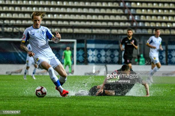 Defender Artem Shabanov of FC Dynamo Kyiv controls the ball during a Ukrainian Premier League Matchday 26 game against FC Zorya Luhansk at the...