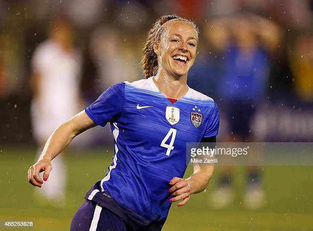 Defender Becky Sauerbrunn of the United States smiles after a US goal in the first half during the friendly match against Costa Rica at Finley...