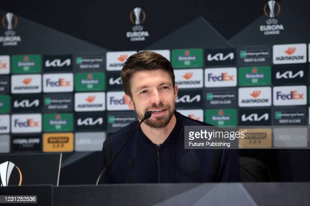 Defender Brandon Mechele of Club Brugge attends the post-match news conference after a 1-1 draw in the UEFA Europa League Round of 32 1st leg game...