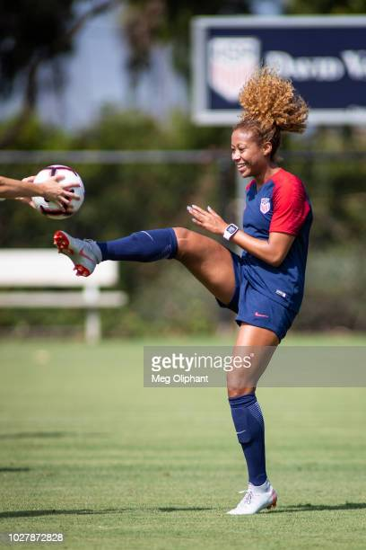 Defender Casey Short does drills at the US Women's National Team practice before their friendly match against Chile at StubHub Center on August 28...