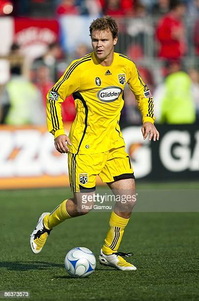 Defender Chad Marshall of the Columbus Crew controls the ball during the match against the Toronto FC at BMO Field on May 2 2009 in Toronto Canada...