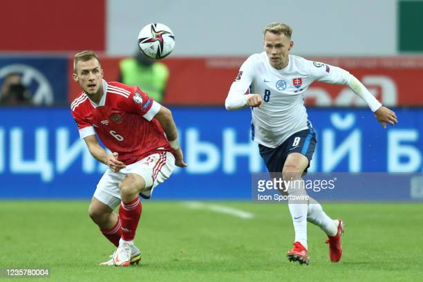 Defender Dejan Lovren of FC Zenit and Ondrej Duda of Slovakia National team in action during a World Cup 2022 qualifying match between Russia and...