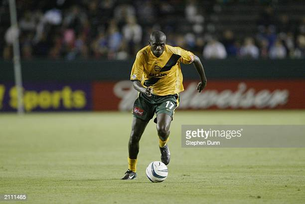 Defender Ezra Hendrickson of the Los Angeles Galaxy dribbles the ball during the Major League Soccer game against the San Jose Earthquakes at the...