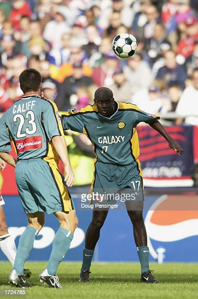 Defender Ezra Hendrickson of the Los Angeles Galaxy eyes the airborne ball against the New England Revolution during the MLS Cup on October 20, 2002...