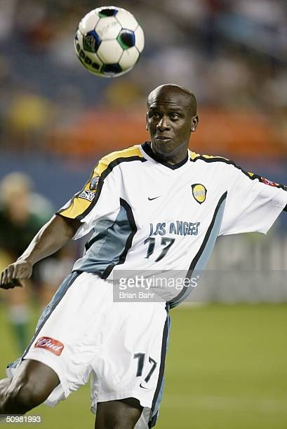 Defender Ezra Hendrickson of the Los Angeles Galaxy kicks the ball against the Colorado Rapids during the MLS match on July 13, 2002 at Mile High...