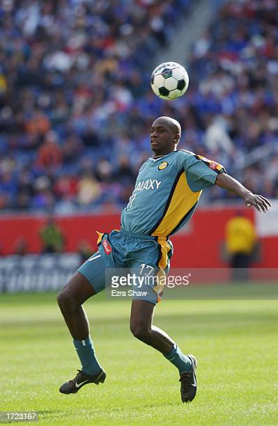 Defender Ezra Hendrickson of the Los Angeles Galaxy looks to play the ball against the New England Revolution during the MLS Cup on October 20, 2002...