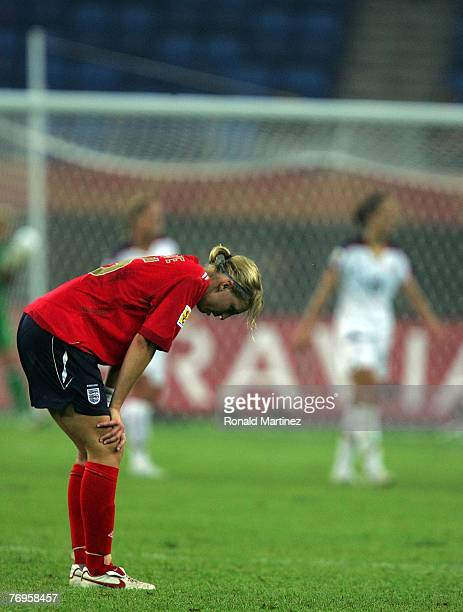 Defender Faye White of England reacts after losing 3-0 against USA during the quarter final of the Women's World Cup 2007 at Tianjin Olympic Center...