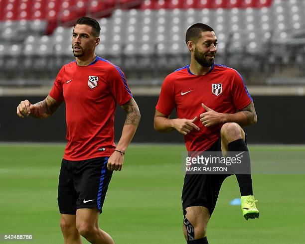 Defender Geoff Cameron and Forward Clint Dempsey train at the University of Phoenix Stadium in Phoenix Arizona on June 23 with other members of the...