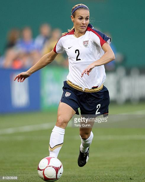 Defender Heather Mitts moves up on attack during a 6-0 win by team U.S.A. Aginst Canada in an international friendly match on May 10, 2008 at R.F.K....