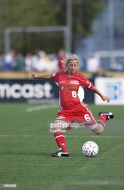 Defender Jenny Benson of the Philadelphia Charge passes during the WUSA match against the New York Power at Villanova Stadium on May 3 2003 in...