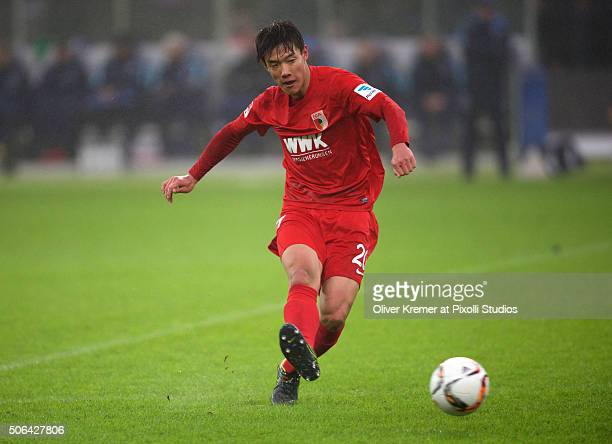 Defender JeongHo Hong of FC Augsburg passing the ball at Olympiastadion on January 23 2016 in Berlin Germany