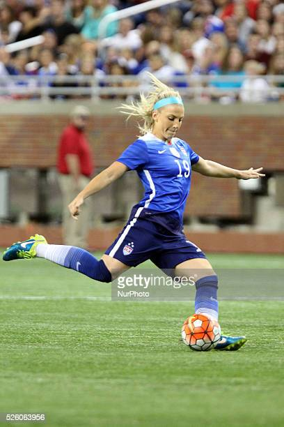 US defender Julie Johnston prepares to pass the ball in the International Friendly match between the United States and Haiti at Ford Field in Detroit...