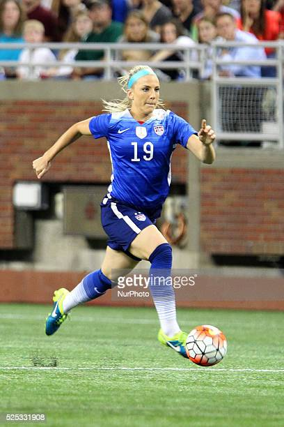 US defender Julie Johnston runs the ball down the field in the International Friendly match between the United States and Haiti at Ford Field in...