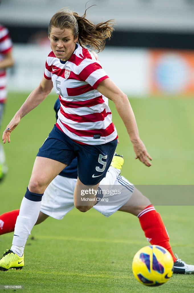 Defender Kelley O'Hara #5 of the United States chases a ball during the game against Scotland at EverBank Field on February 9, 2013 in Jacksonville, Florida. The United States defeated Scotland 4-1.