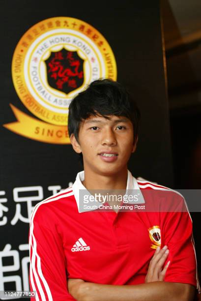 Defender Li Hangwui of the Hong Kong Football Team poses at a pledge ceremony ahead of their game against Manchester United on July 23 2005 at Grand...