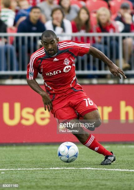 Defender Marvell Wynne of Toronto FC controls the play during the match against the Houston Dynamo on September 27, 2008 at BMO Field in Toronto,...